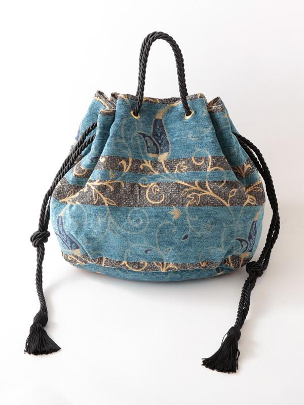 ブルー完売【SALE20】ベルベットジャガード 巾着バッグ(2カラー)