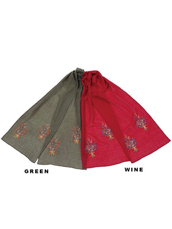 ウール混花束刺繍ショール B21W093