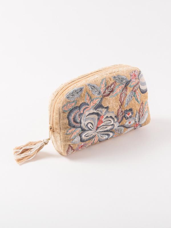 ベロア刺繍ポーチ(2タイプ)
