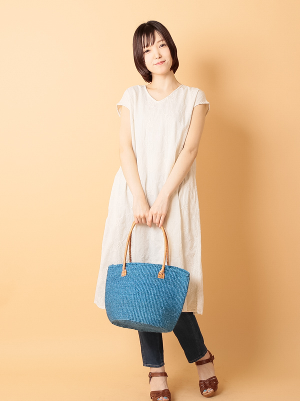 【30%OFF】サイザルバッグ(無地)Lサイズ ブルーBL