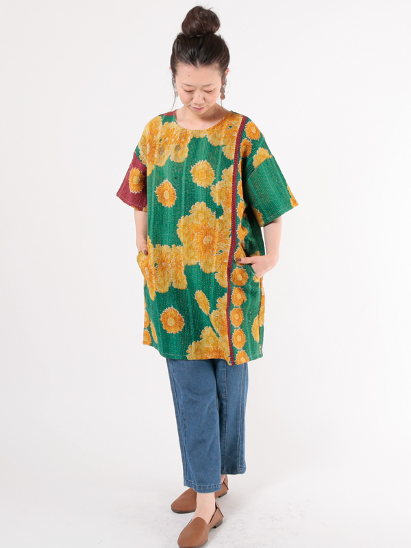 【50%OFF】ラリーキルト ワンピース(グリーン系)