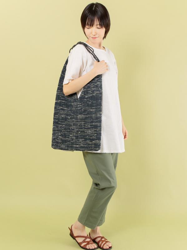 【SALE30】ゼロウェイスト手織りコットンバッグ(ネイビー)