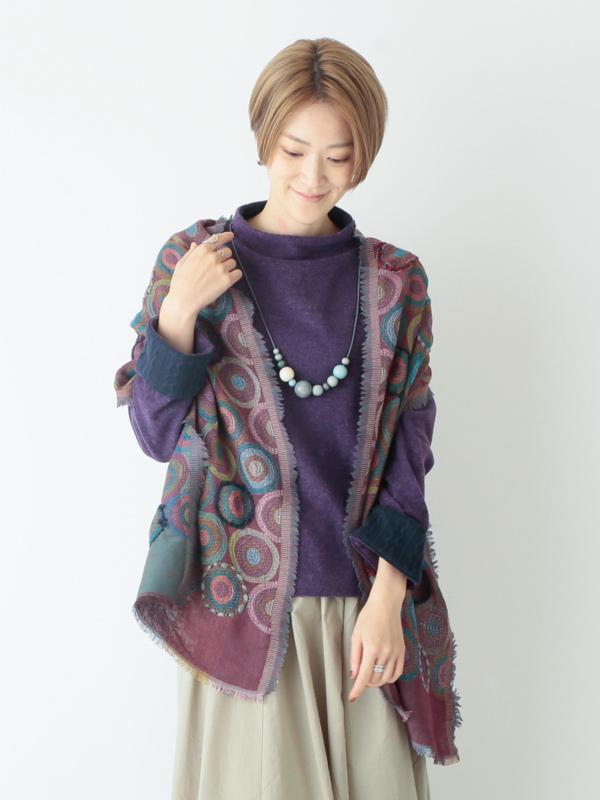 ドット刺繍ジャガードミニショール B21W100