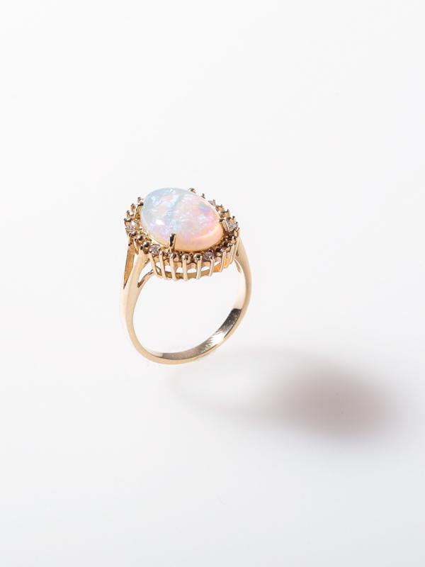 ゴールド(K14) オパール ダイヤモンド リング