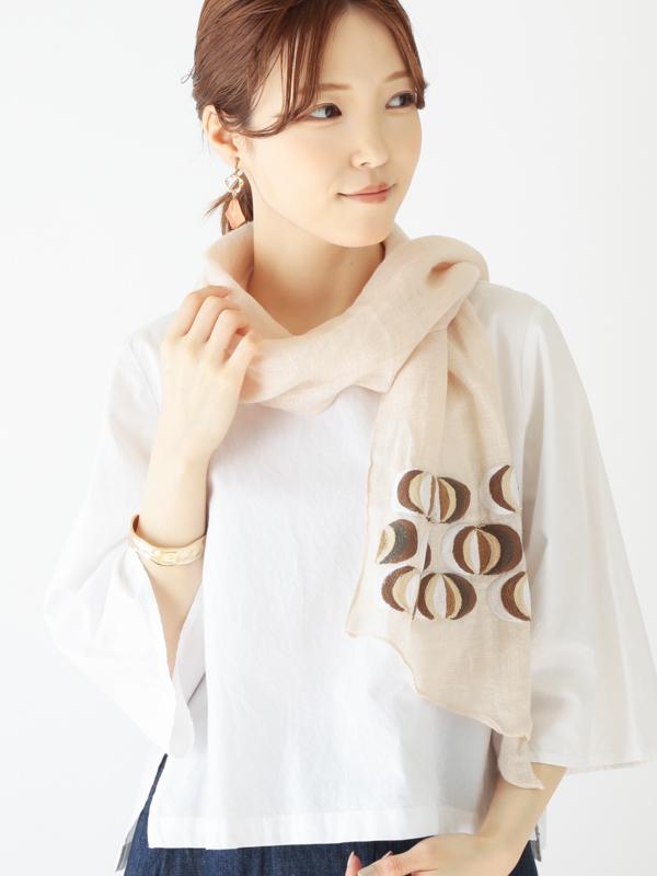 オニオン刺繍バイアスショール B21S039