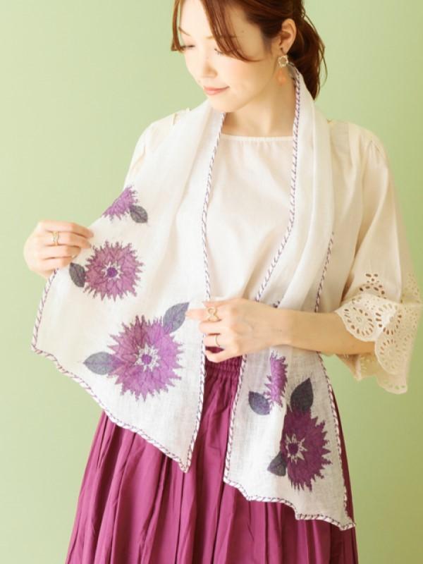 花パッチ刺繍ショール(保冷剤ポケット付き) B21S040