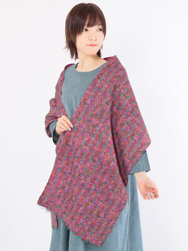 インド シルクカンタ(刺し子刺繍)ショール(ピンク系)