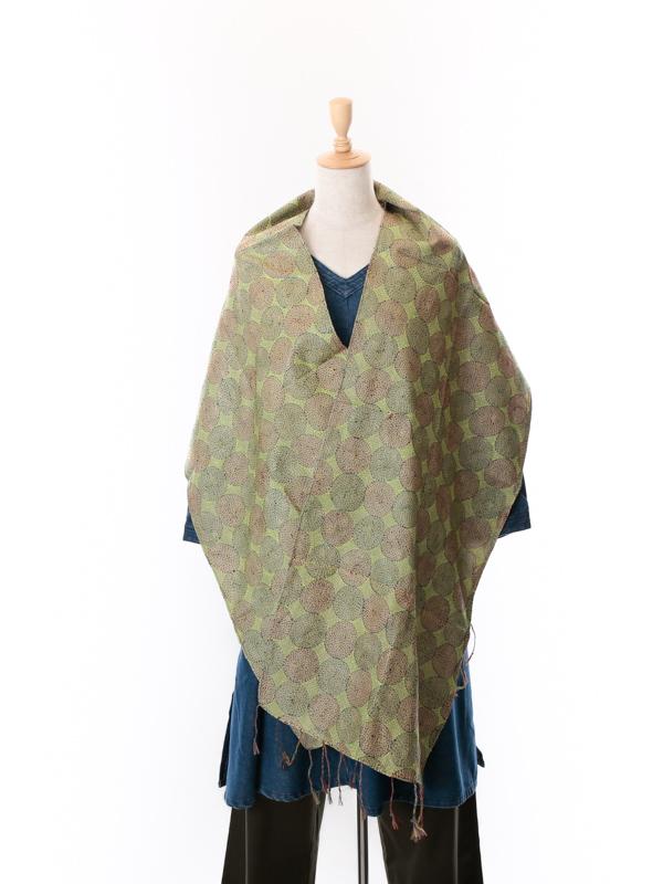 インド シルクカンタ(刺し子刺繍)ショール(イエローグリーン×グレー)