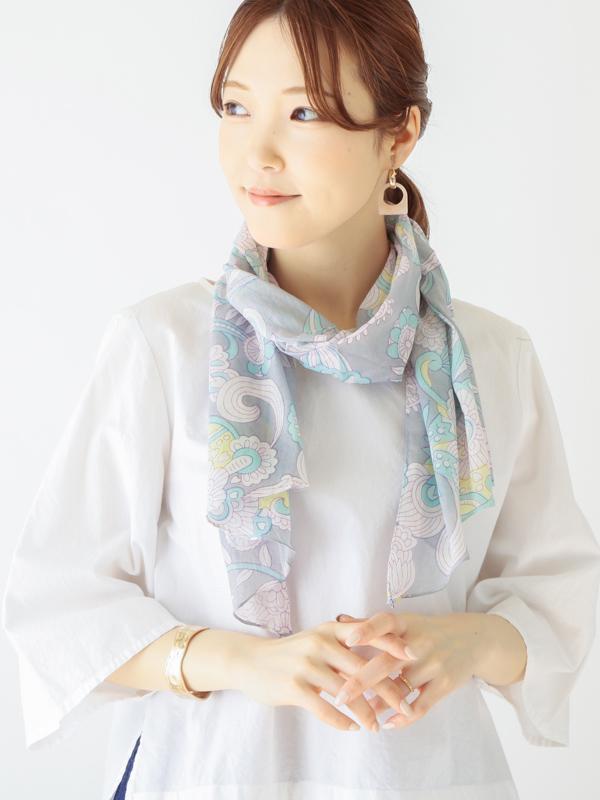 【30%OFF】ペイズリープリントバイヤスショール B21S002