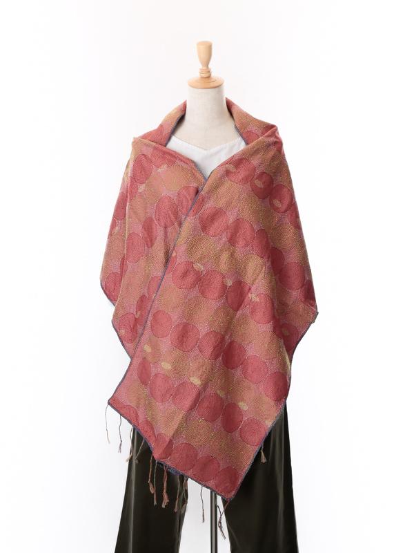 インド シルクカンタ(刺し子刺繍)ショール(グレイッシュパープル×ピンク)