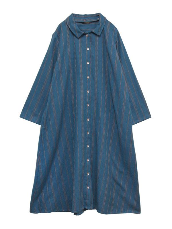 綿麻ドットラインドビー 衿取れるシャツワンピース 21W460