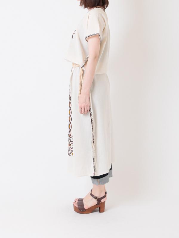 【SALE40】エチオピア 手刺繍ロングワンピースB