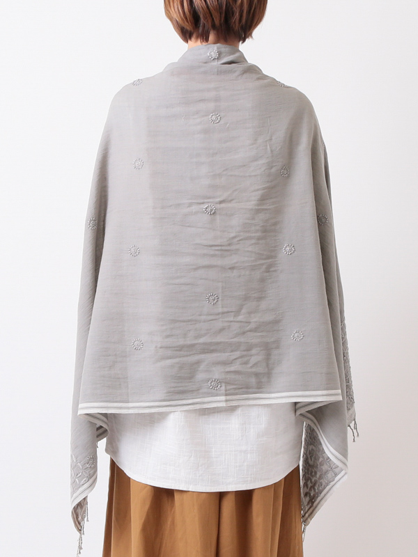 ★【SALE30】カディコットンラクノウ花刺繍ショール