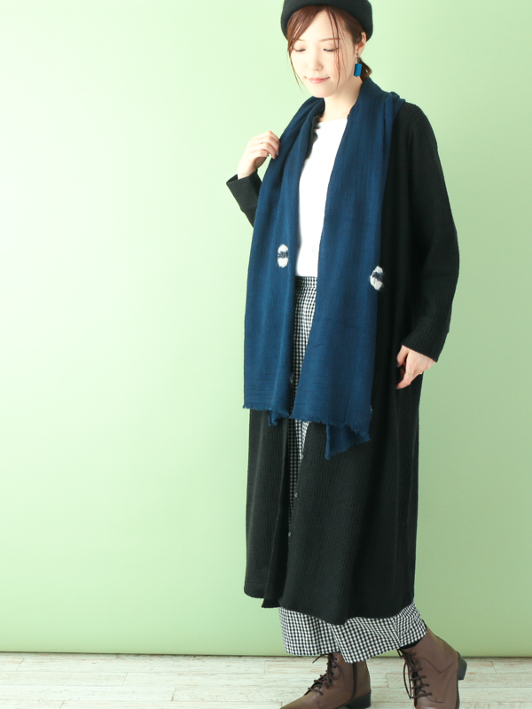 【SALE】ウールくるくる刺繍ショール B20W038