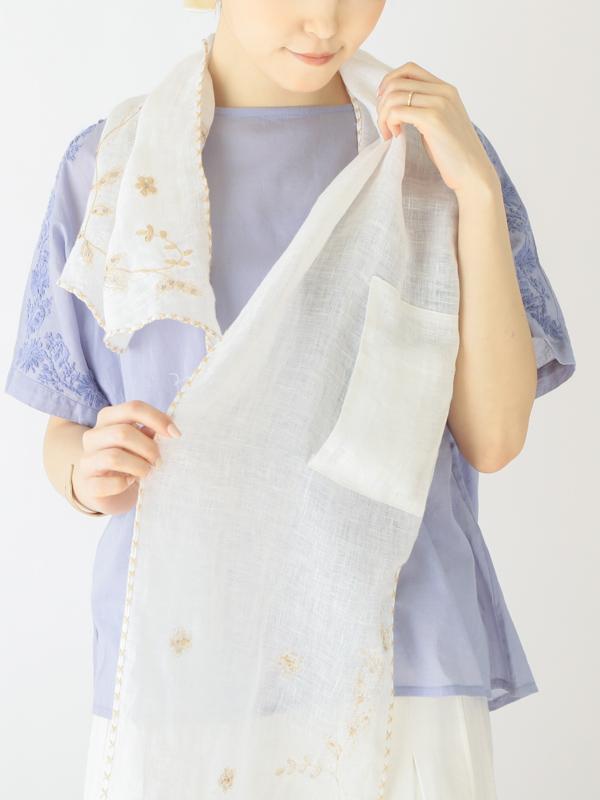 【30%OFF】花刺繍バイアスショール(保冷剤ポケット付き) B21S038