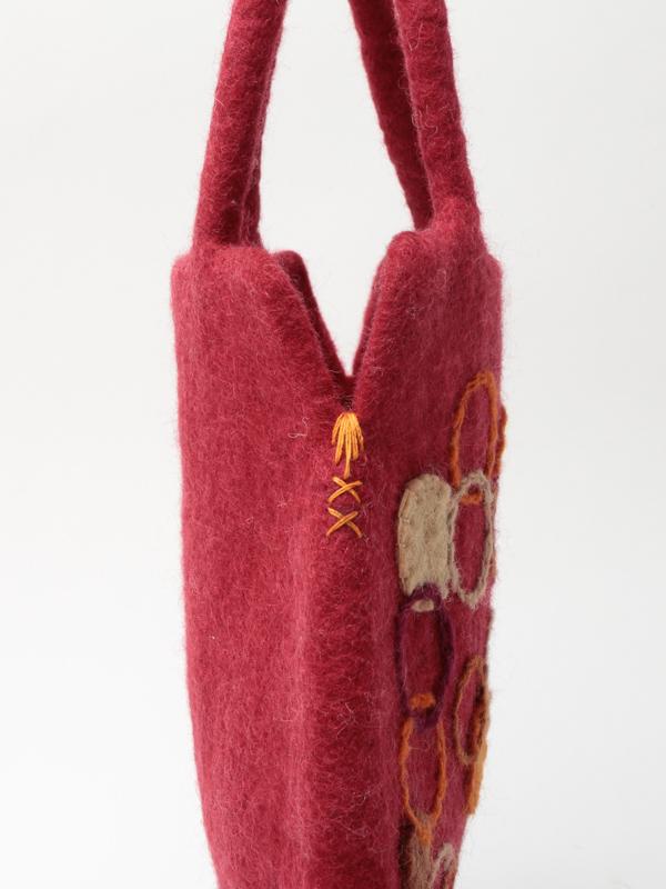 サークル刺繍フェルト卵型バッグ H21W001