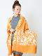 【SALE50】カシミール刺繍ウールショール(オレンジ系)