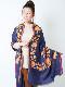 【SALE50】カシミール刺繍ウールショール(ネイビー系)