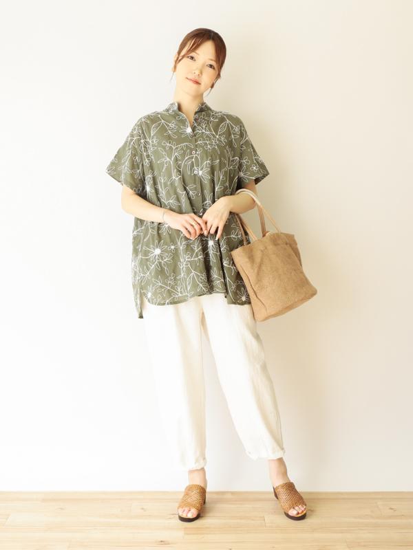 【40%OFF】ドリーフラワー刺繍 ロングシャツ 21S064