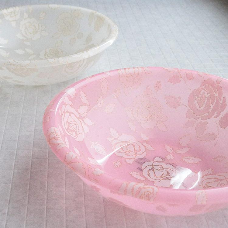 洗面器 おしゃれ アクリル 1.5L バスボウル ウォッシュボウル 湯おけ スウィート 花柄