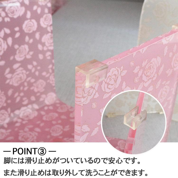 バスチェア アクリル 風呂椅子 オシャレ Lサイズ 花柄 薔薇柄 スウィートローズ