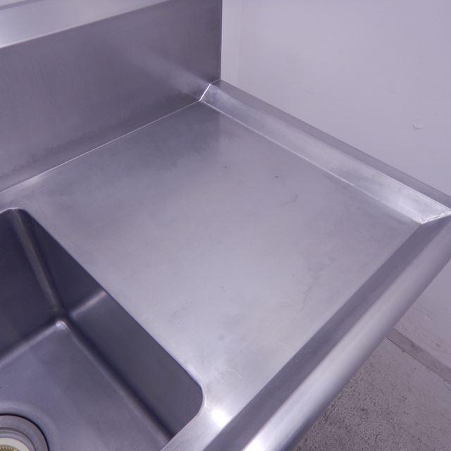 2槽シンク 中古 W1500×D600×H850(+200) 水切り付き バックガードあり