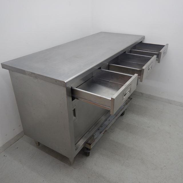 調理台 中古 W1500×D600×H800 引き出し3個付き