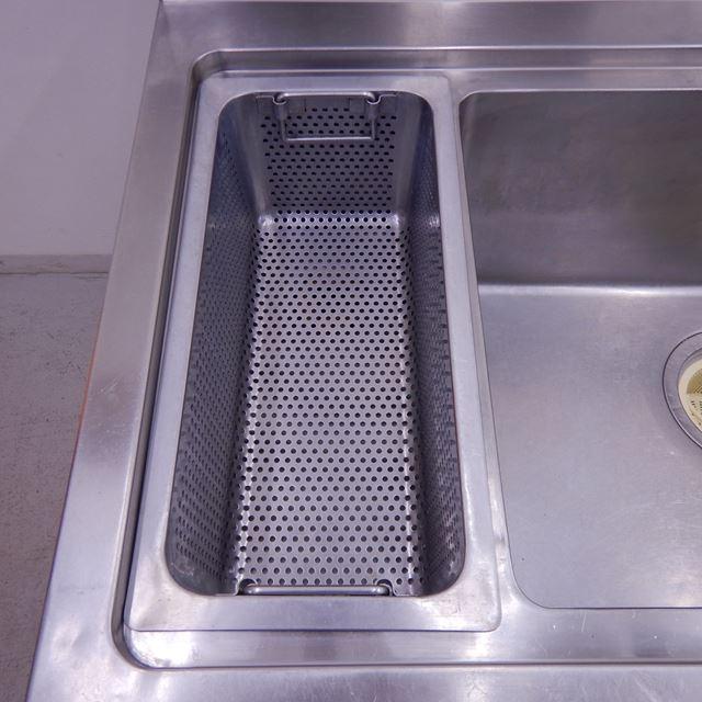 タニコー ソイルド1槽シンク 中古 W1500×D680×H825(+150) バックガード、ダストカゴ角あり