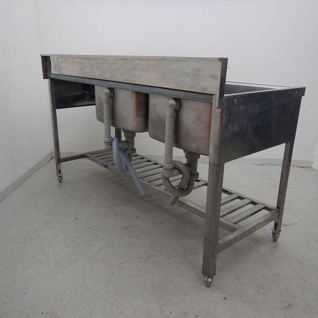 2槽シンク 中古 W1500×D600×H800(+120) 水切り付き バックガードあり