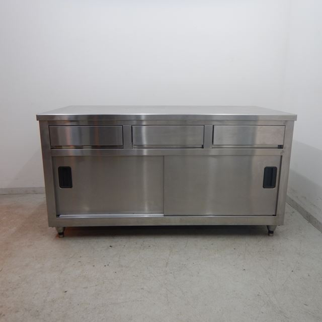 調理台 中古 W1500×D750×H800 引出し3個付き