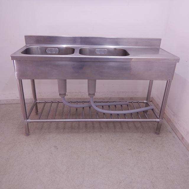 2槽シンク 中古 W1350×D450×H790(+90) 水切り付き バックガードあり