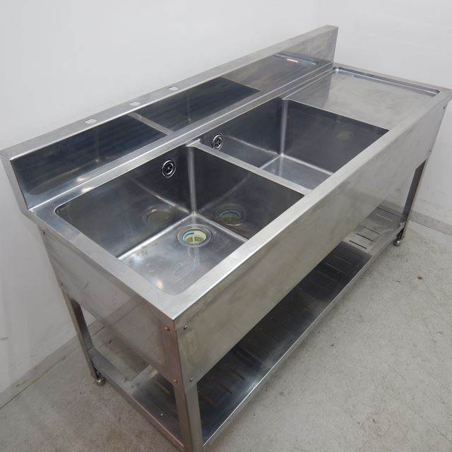 2槽シンク 中古 W1500×D600×H800(+150) 水切り付き バックガード付き