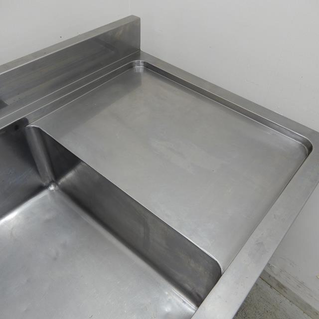 2槽シンク 中古 W1500×D600×H800(+90)  水切り付き バックガードあり