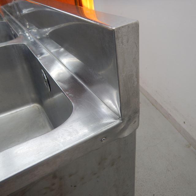 2槽シンク 中古 W1500×D600×H800(+120) バックガードあり 水切り付き