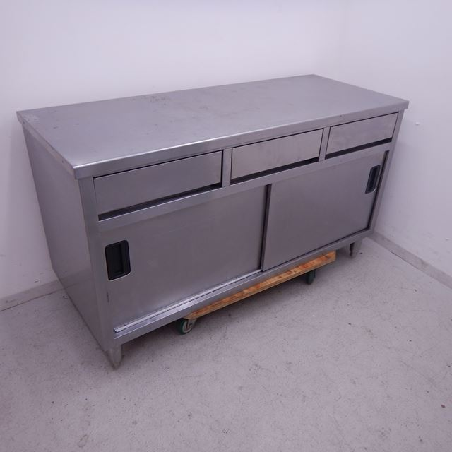 調理台 中古 W1500×D600×H850 引き出し3個付き