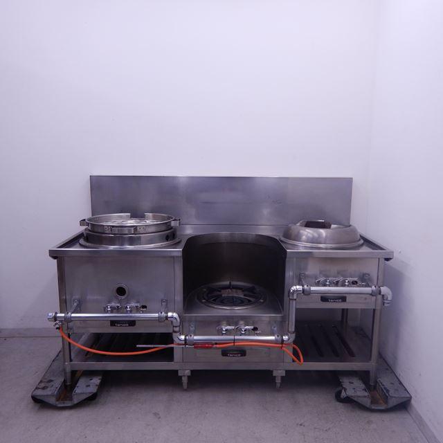 タニコー 中華レンジ 中古 W1600×D750(+85)×H750(+300) LPガス 炒め、スープ、ゆで麺 3口