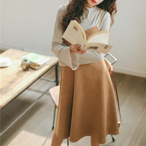 zaqa 128upk3 【キャメル/Sサイズ】ジャンパースカート キャミワンピ エレガント 膝丈 韓国ファッション きれいめ ワンピース レディース