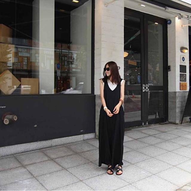 zvpa 1891upk3 【サイズL ブラック】サロペット オールインワン レディース サロペットパンツ 黒 袖なし オールインワン サロペット オーバーオール ガウチョパンツ ゆったりめ ワンピースパンツ スカート カジュアル