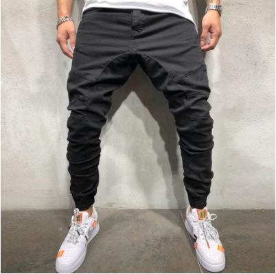 zaqa 615upk3 【ブラック / M】メンズ ストリート カジュアル系 ジョガーパンツ ヒップホップ ワークパンツ オールシーズン クロップド 綿パンツ
