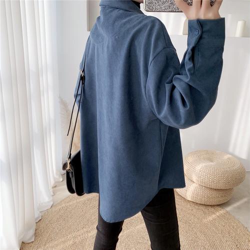 zvpa 1611upk3 【ホワイト】コーデュロイ カットソー 開襟 シャツ風 長袖 ゆったり 秋冬 胸ポケット ビッグシルエット シンプル