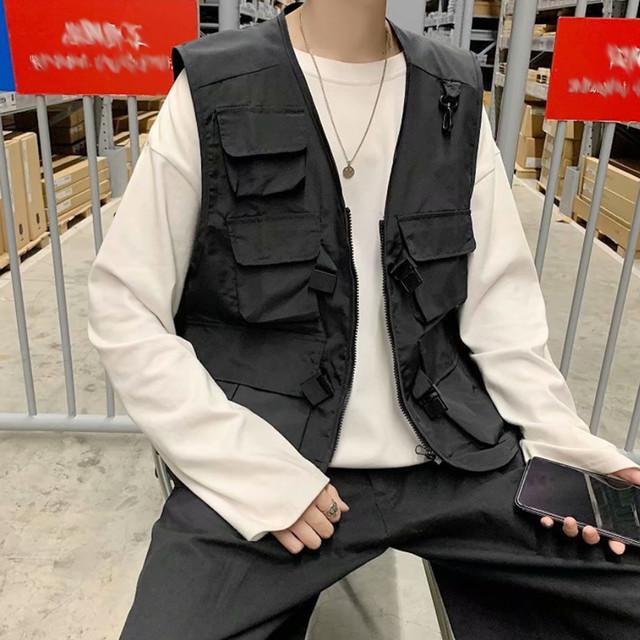 zaqa 489upk3 【ブラック / XL】メンズ 黒 ワーク用ベスト ヒップホップ ストリート系 多機能ベスト アウトドアベスト 釣りベスト フィッシングベスト 多ポケット だから キャンプ用 トラベルべスト 作業ベスト カメラマンベスト に