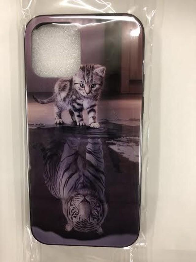yhza 077kn05 iPhone12 / 12 pro ケース ネコとトラ 強化ガラスケース ねこ 猫 写真 動物 かわいい スリム アニマル 光沢 透明 癒し系 耐衝撃 アイフォンケース スマホケース iphone12/12pro