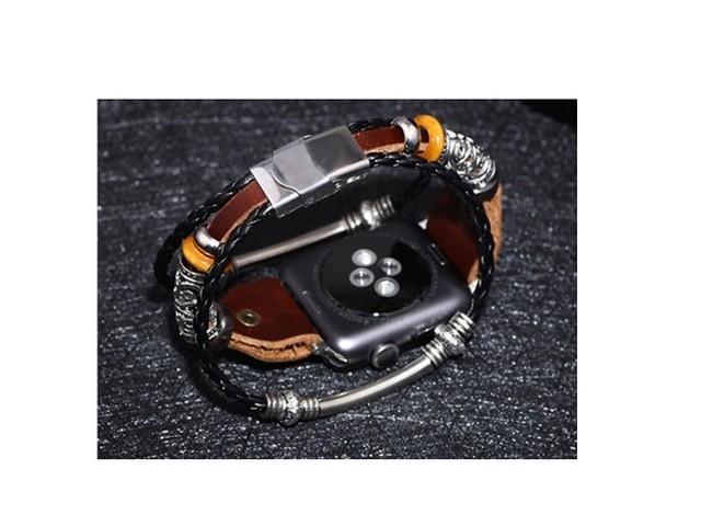 ymra 018kn05 AppleWatch 42mm/44mm ブラック ベルト バンド レザー 革 アクセサリー 交換ストラップ プレゼント アップル ウォッチ 時計バンド apple watch Series 6/ 5 /4 /3/ 2 /1 /SEに対応 アクセサリー ・ブレスレット 男女兼用 ブラック(黒色)