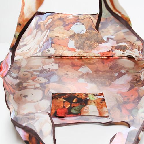 zvpa 1599kn10 【カラーストライプ】エコバッグ 買い物袋 折り畳み キュート 防水 総柄 レジバッグ 買い物バッグ ショッピング 大容量 コンパクト