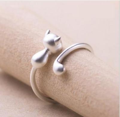 ngab 429kn05 シルバー925 かわいい ネコ リング レディース 指輪 マットシルバー