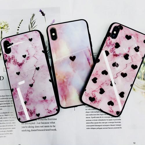 zvpa 1341kn05  【iPhoneX/XS】iPhoneケース ハート柄 強化ガラス TPU 大理石調 ピンク 可愛い レディース