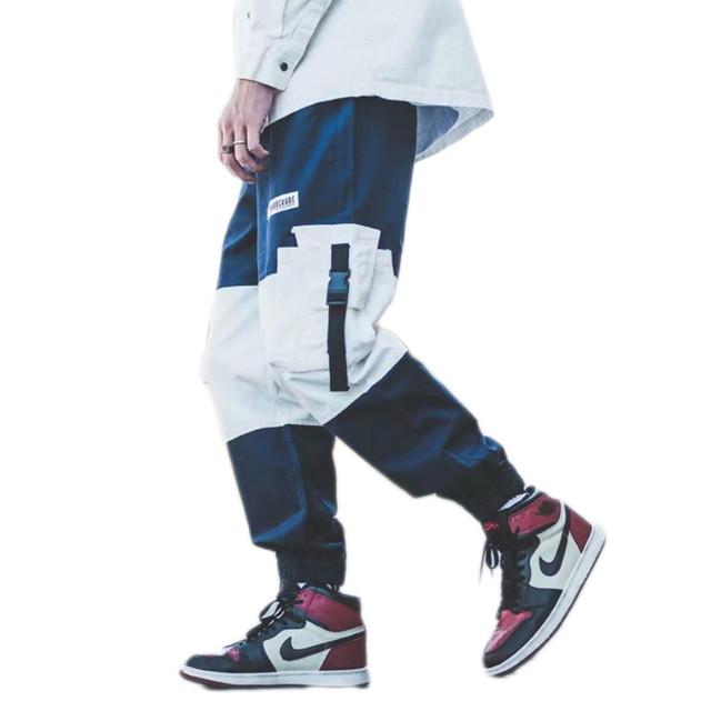 zaqa 722tk50 【ネイビー / M】メンズ カーゴパンツ ワークパンツ バイカラー トレンド ビッグポケット ヒップホップ ダンス コットン混パンツ 裾ゴム ウエストゴム 白 紺