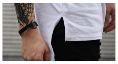 ybab 063nkps 大きめ ラウンドテール Tシャツ ホワイト 【Lサイズ】