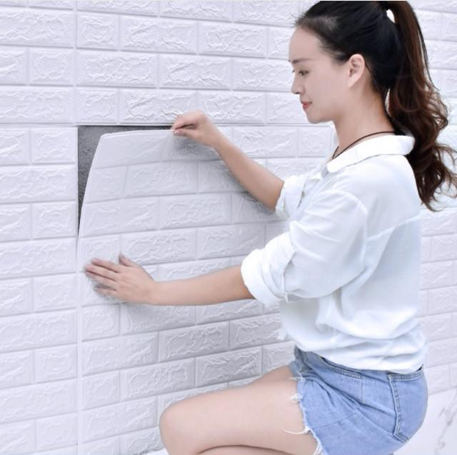 ybkk 080sg14 3D壁紙 DIYレンガ調壁紙シール ホワイト レンガ調壁紙 50枚セット 70�×77�×3.5mm