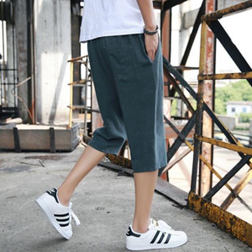 wnab 372upk3 2XL 緑 モスグリーン サルエルパンツ メンズ ハーフパンツ ショートパンツ 麻 夏 七分丈 調整紐